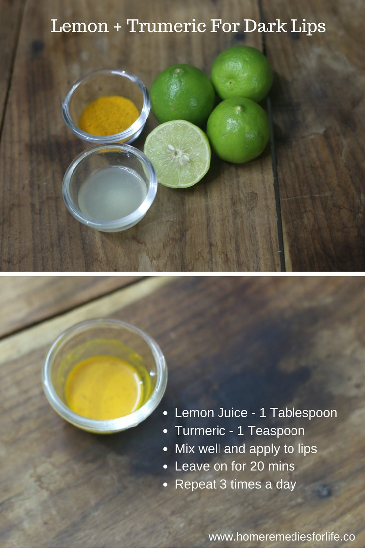 Lemon And Turmeric For Dark Lips